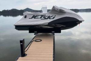 Jet ski balancing on a dock